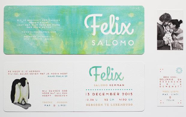 geboortekaartje felix en klein kaartje