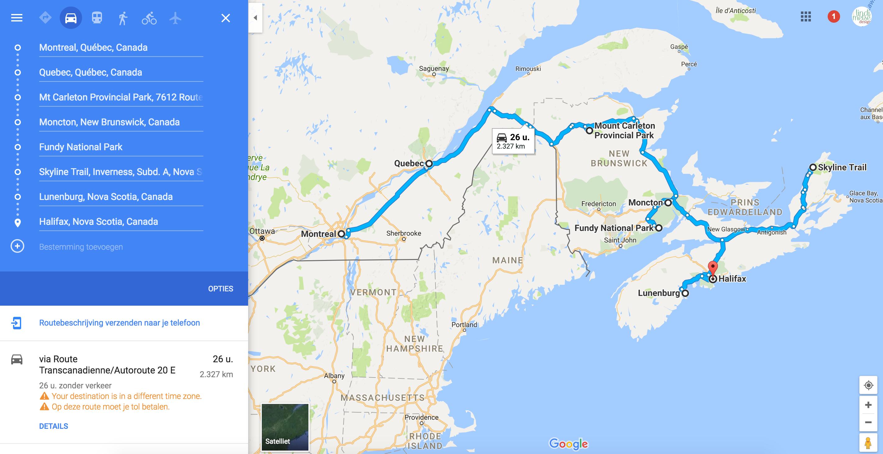 onze route voor de rondreis in canada