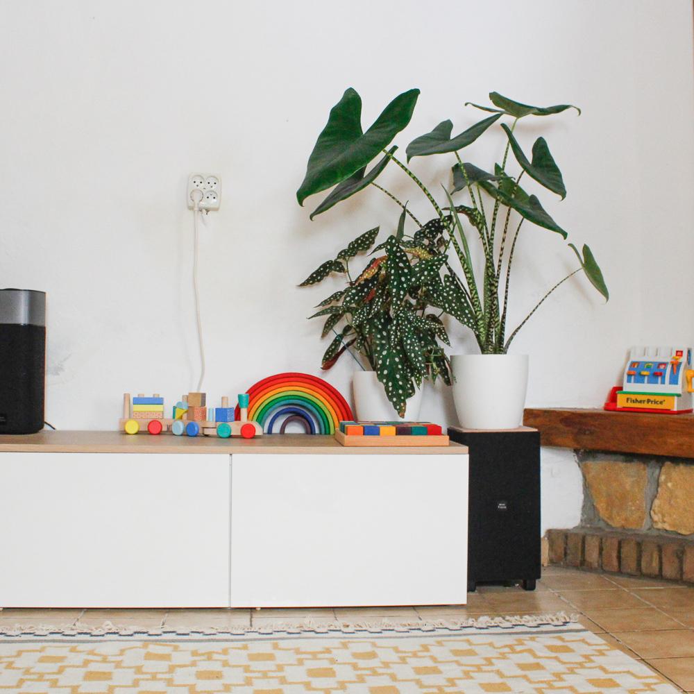 Groene kamerplanten in woonkamer met gekleurd speelgoed
