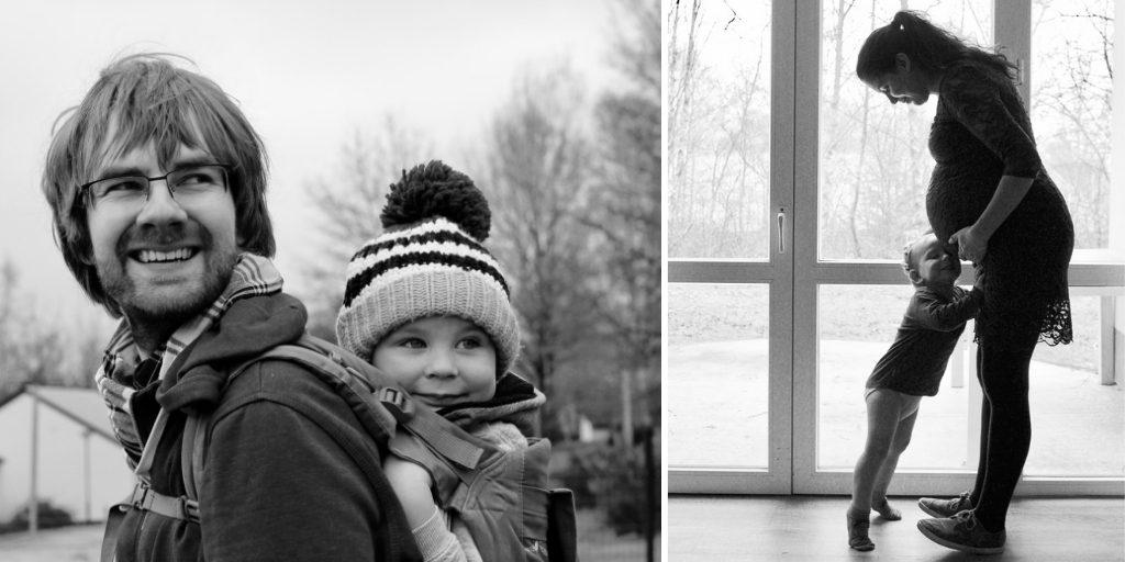 Gezin van 3 zwart wit foto