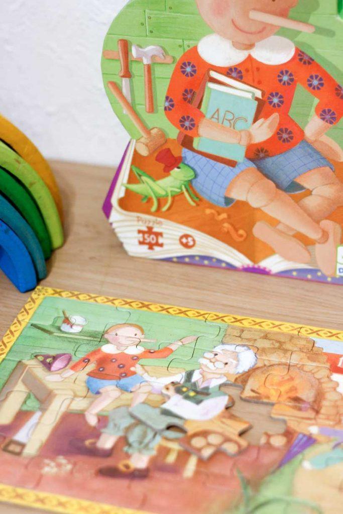Detail sprookjes puzzel Pinoccio