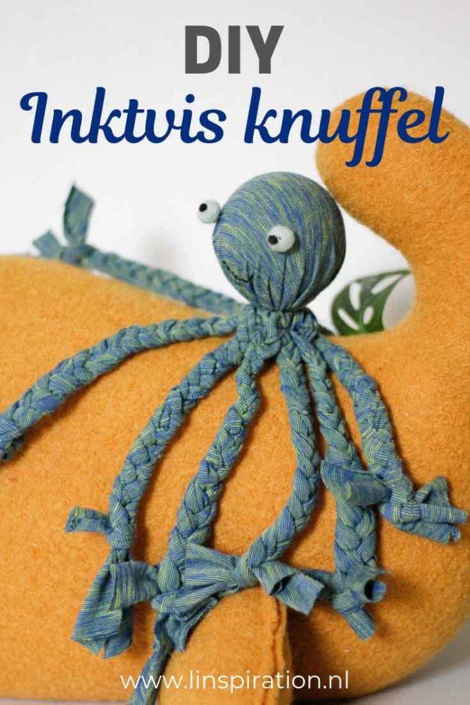 DIY inktvis knuffel. Perfect voor in de kinderkamer en leuk als cadeau!