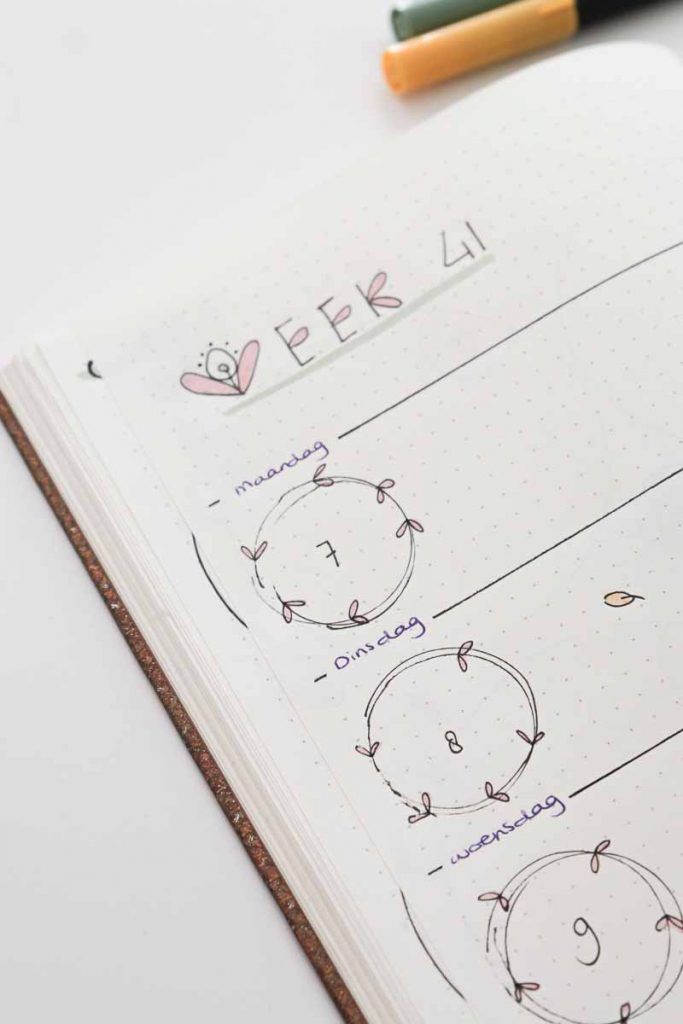 Bullet journal spread inspiratie blaadjes