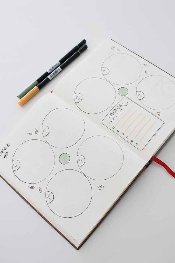 Bullet journal spread inspiratie ronde vormen