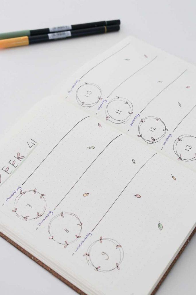 Bullet journal spread inspiratie blaadjes