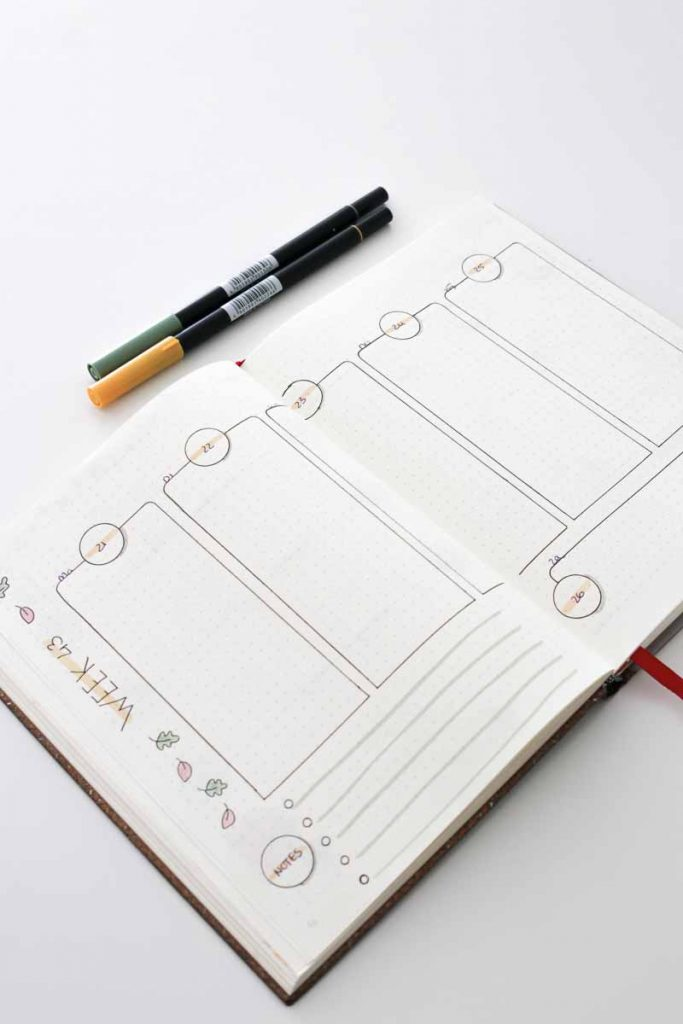 Bullet journal spread inspiratie blaadjes in de herfst