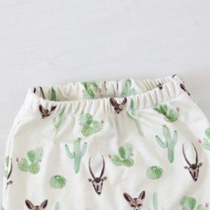 Woestijn vosje print op biologische handgemaakte babykleding FS Happiness