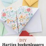 DIY hartjes boekenlegger vouwen van papier