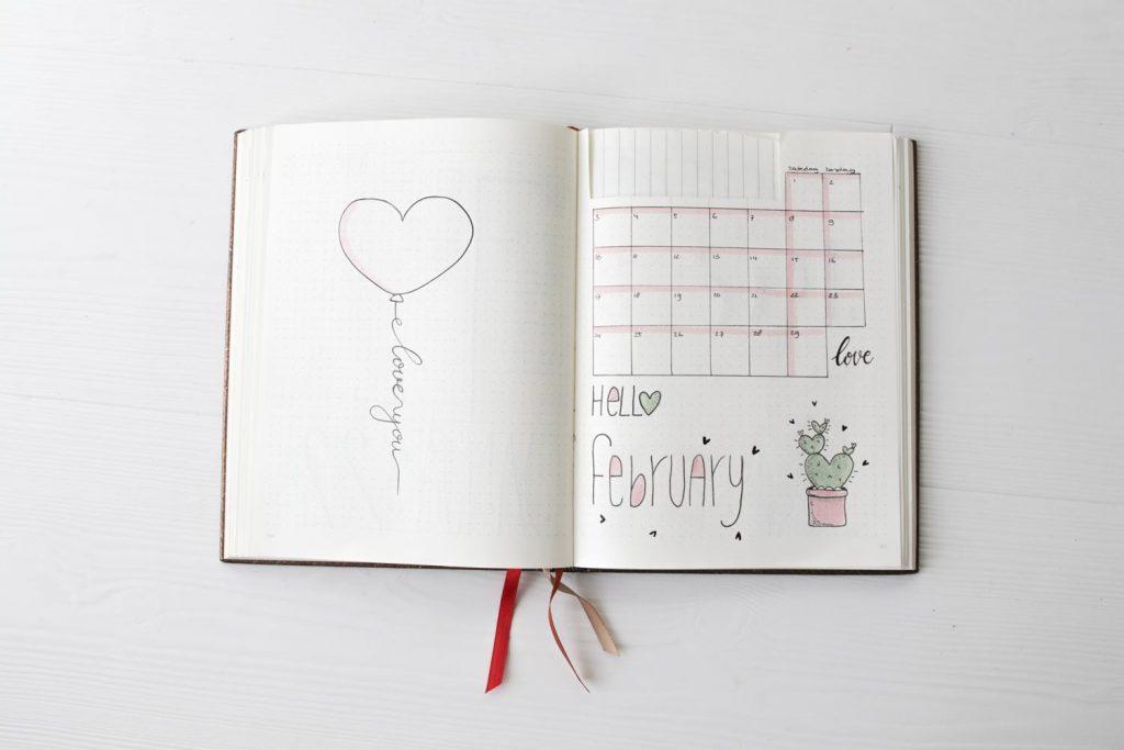 Bullet journal agenda spread februari