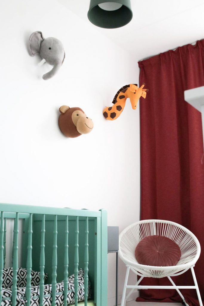 Dierenkoppen in de babykamer