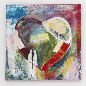 Hart schilderij met Bijbeltekst