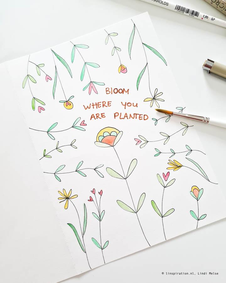 Maak je eigen bloemenkaart met waterverf DIY Linspiration.nl