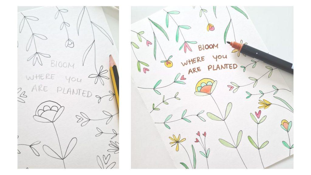 bloemenkaart met waterverf maken
