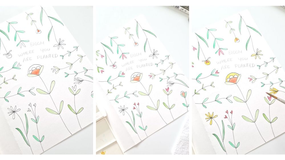 bloemenkaart met waterverf